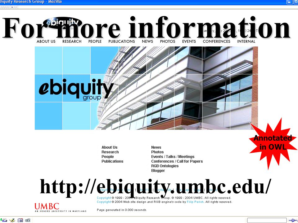 UMBC an Honors University in Maryland 172 http://ebiquity.umbc.edu/ Annotated in OWL For more information