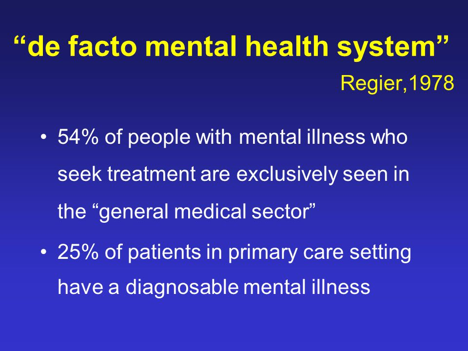 """de facto mental health system"" Regier,1978 54% of people with mental illness who seek treatment are exclusively seen in the ""general medical sector"""