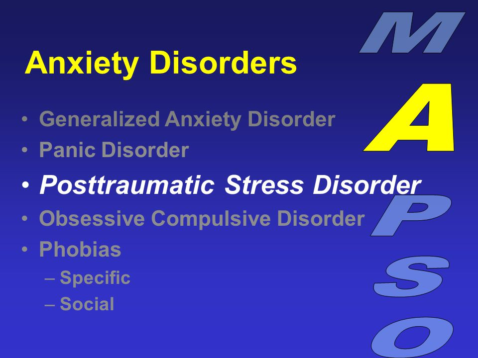 Anxiety Disorders Generalized Anxiety Disorder Panic Disorder Posttraumatic Stress Disorder Obsessive Compulsive Disorder Phobias –Specific –Social