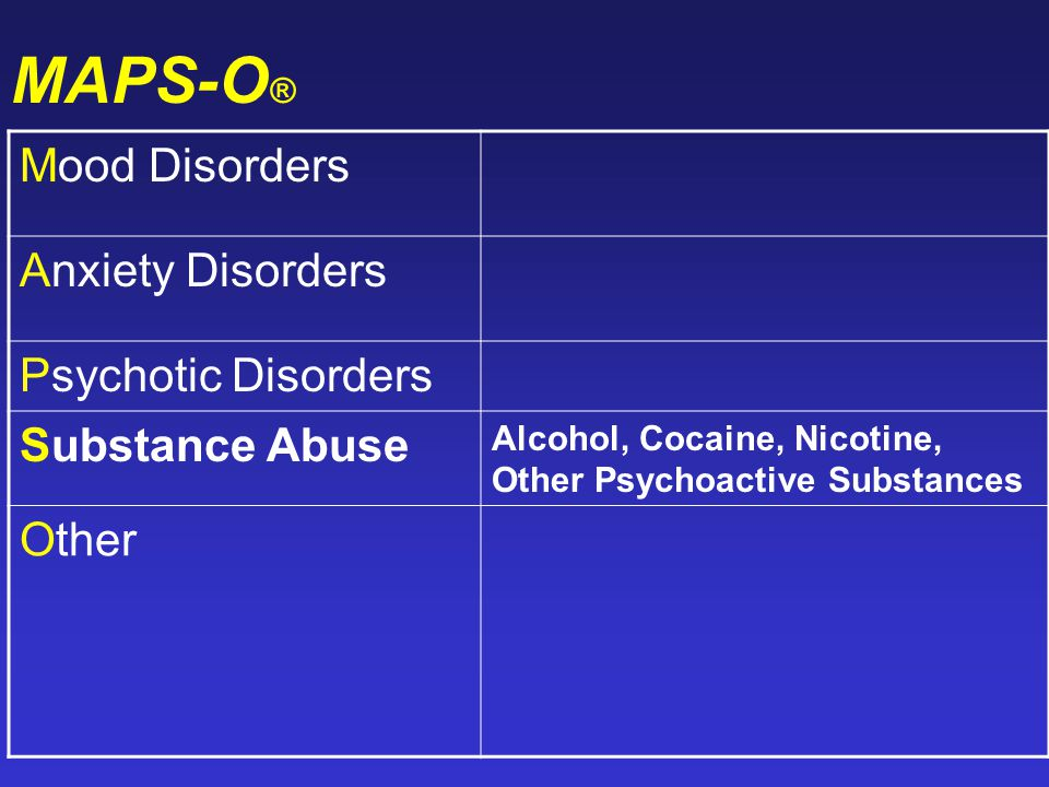 MAPS-O ® Mood Disorders Anxiety Disorders Psychotic Disorders Substance Abuse Alcohol, Cocaine, Nicotine, Other Psychoactive Substances Other