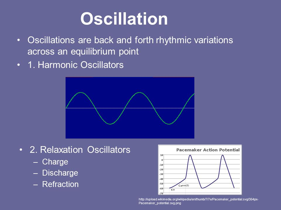 Oscillation Oscillations are back and forth rhythmic variations across an equilibrium point 1.