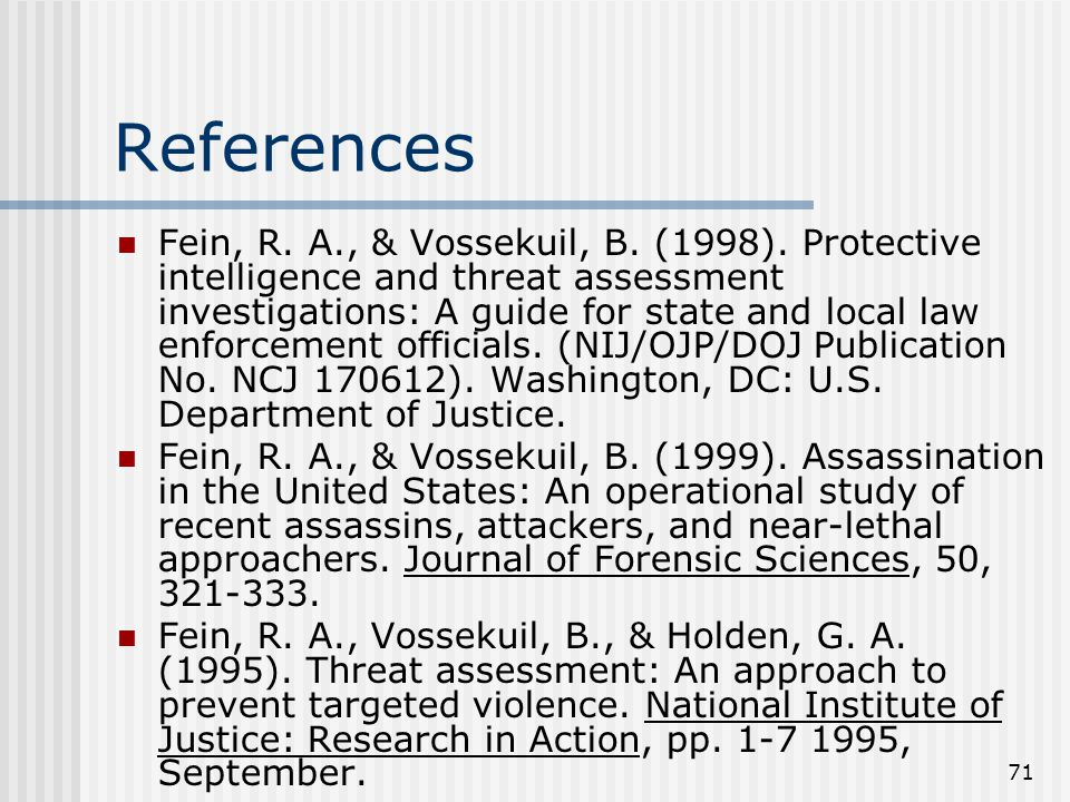 71 References Fein, R. A., & Vossekuil, B. (1998).