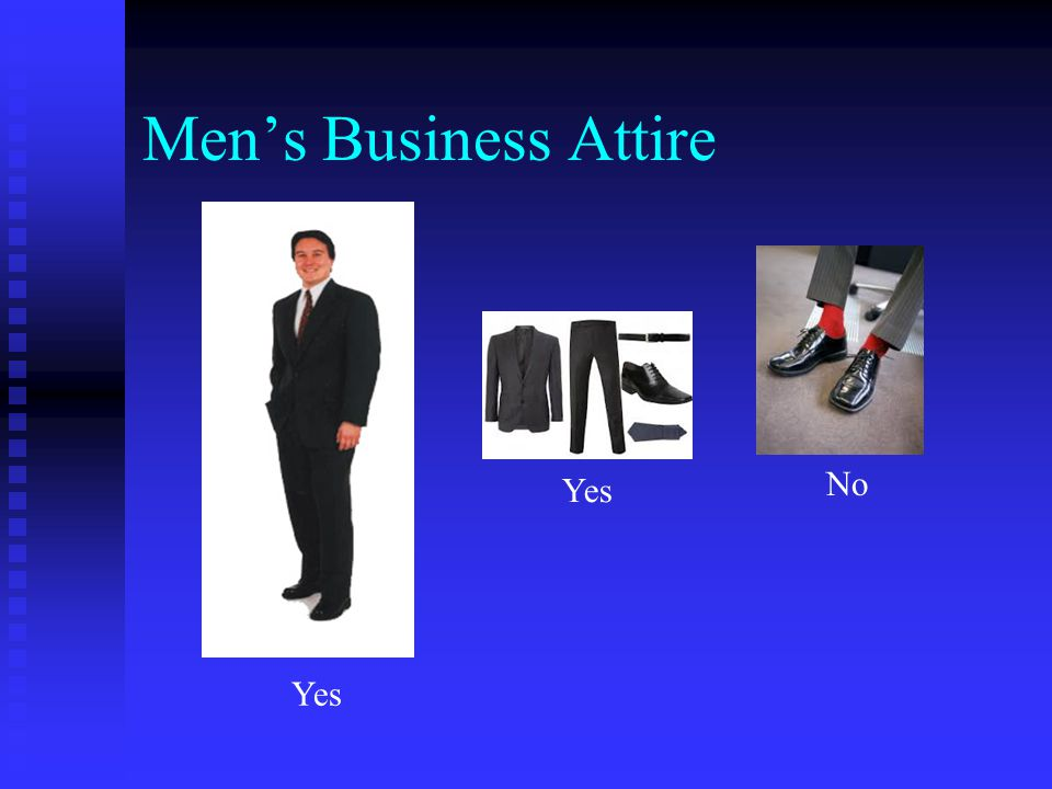 Men's Business Attire Yes No Yes