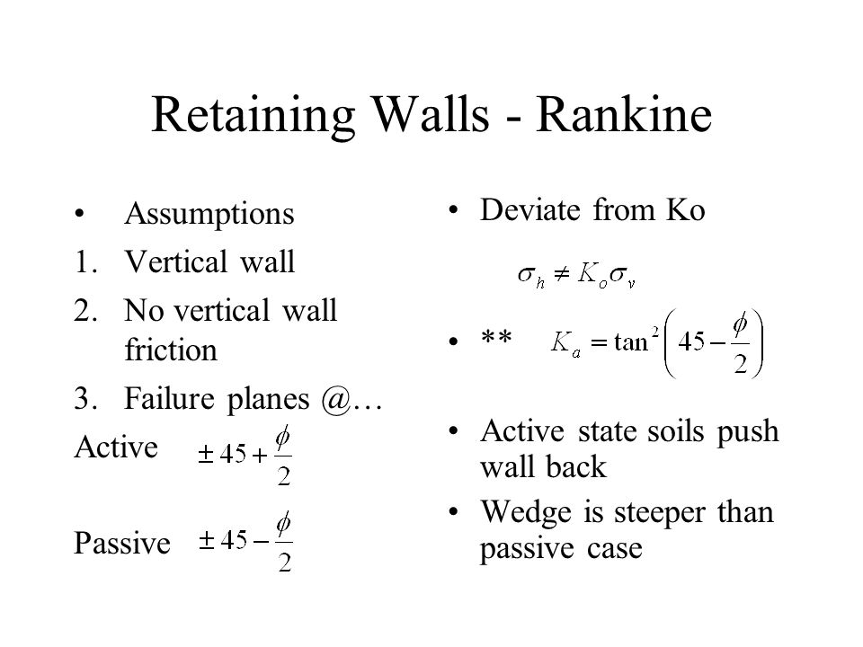 Rankine Inclined deviates by: therefore However must still project by horizontalvertical