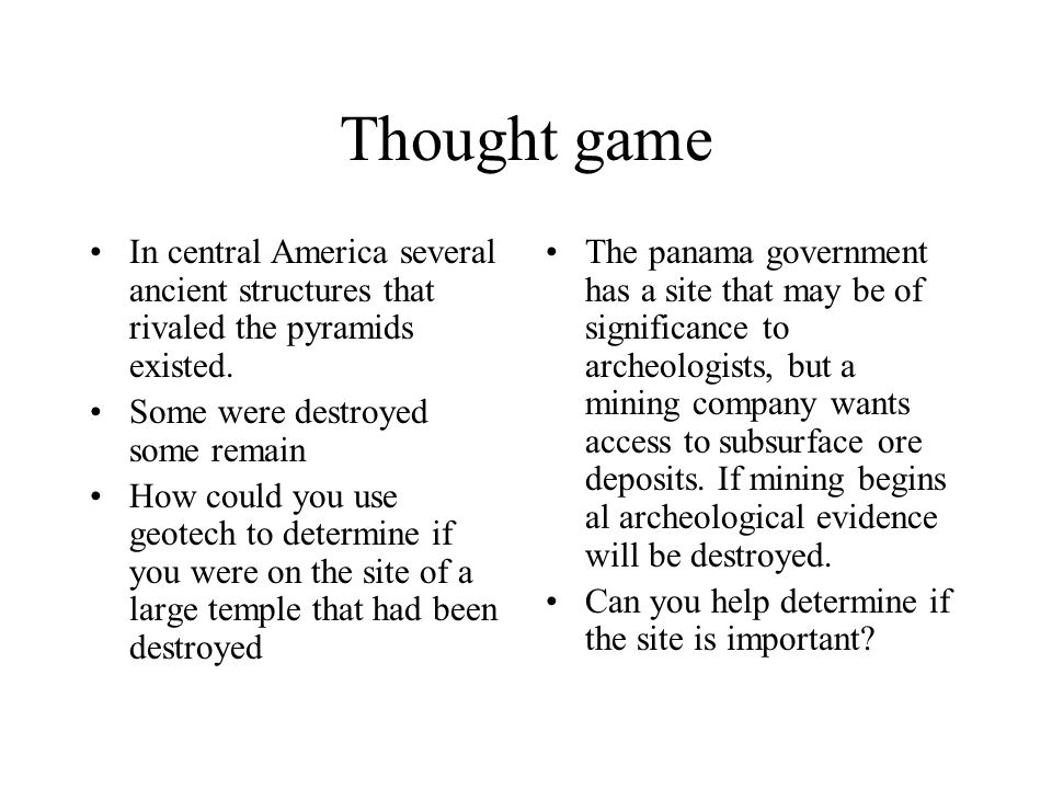 Thought game In central America several ancient structures that rivaled the pyramids existed.