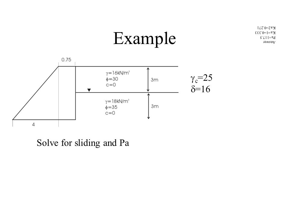 Example Answer Pa=117.5 Ka=1=0.333 Ka2=0.271 Solve for sliding and Pa  c =25  =16