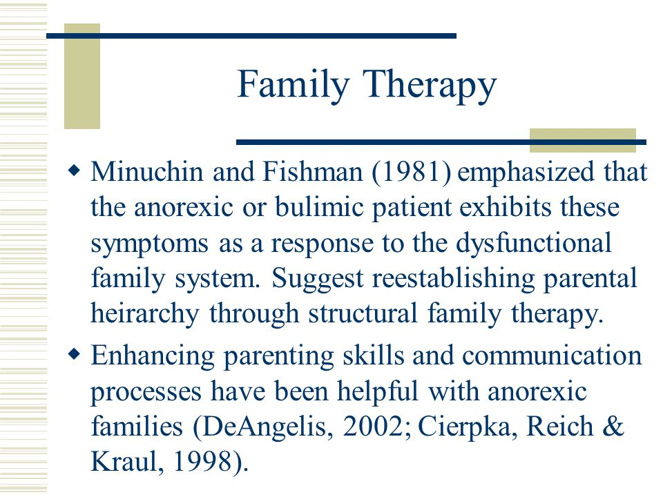 Family Therapy  Minuchin and Fishman (1981) emphasized that the anorexic or bulimic patient exhibits these symptoms as a response to the dysfunctiona