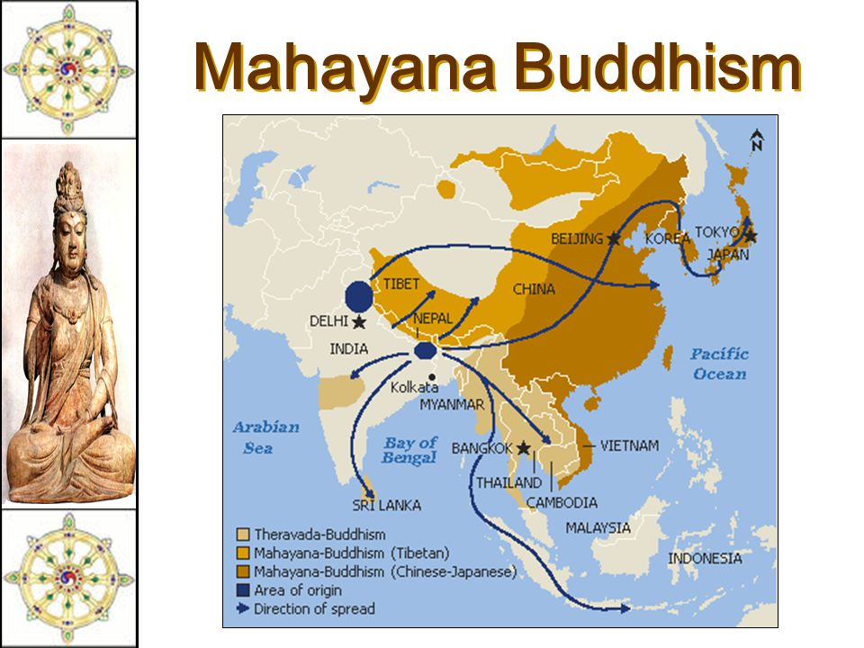 Mahayana Buddhism  The Great Vehicle.  Founded in eastern Asia (China, Japan).