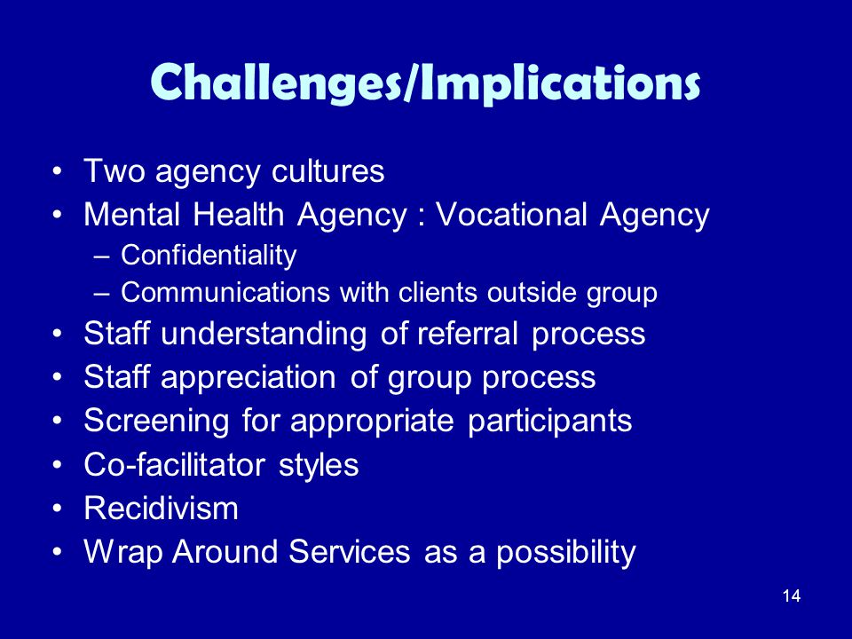 14 Challenges/Implications Two agency cultures Mental Health Agency : Vocational Agency –Confidentiality –Communications with clients outside group St
