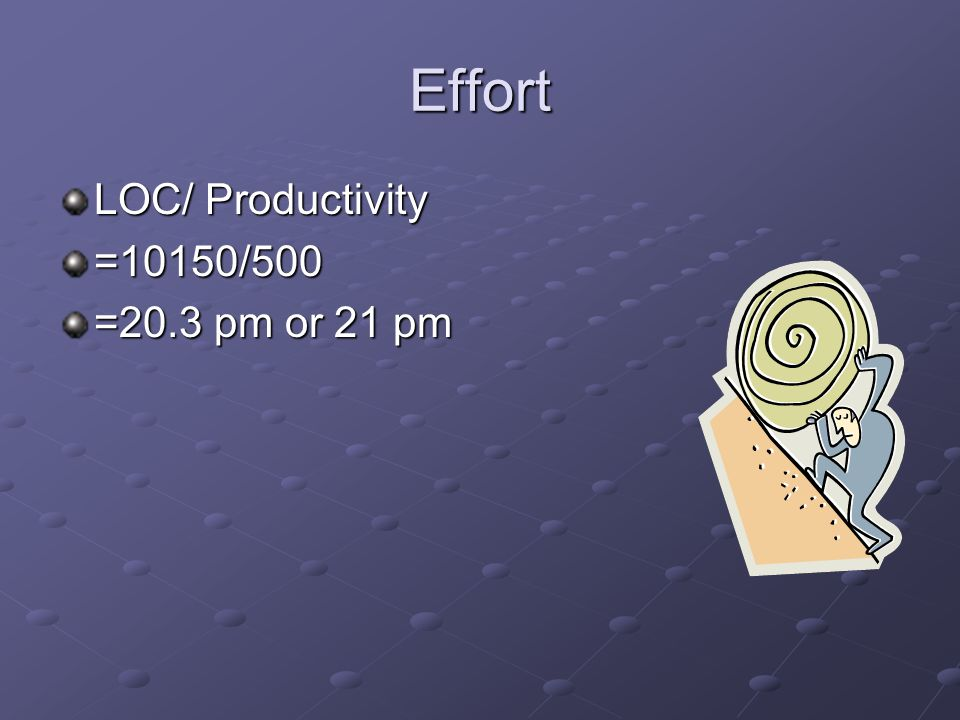 Effort LOC/ Productivity =10150/500 =20.3 pm or 21 pm