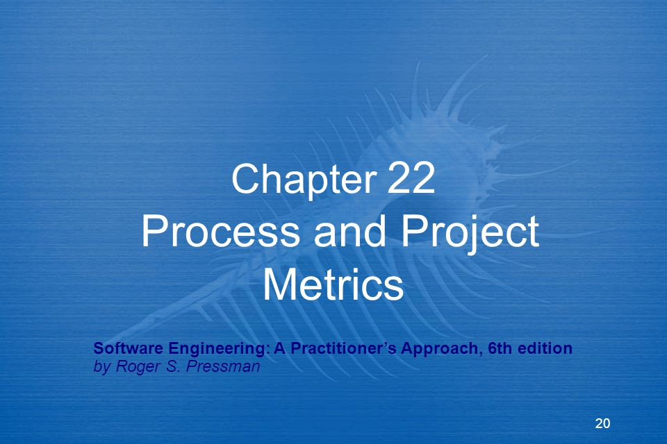 20 Chapter 22 Process and Project Metrics Software Engineering: A Practitioner's Approach, 6th edition by Roger S.