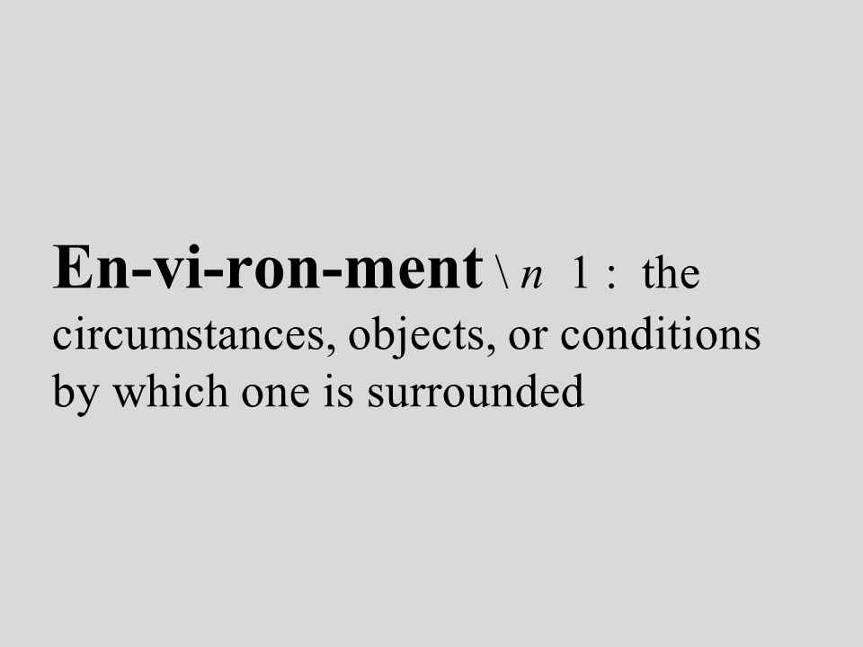 En-vi-ron-ment \ n 1 : the circumstances, objects, or conditions by which one is surrounded