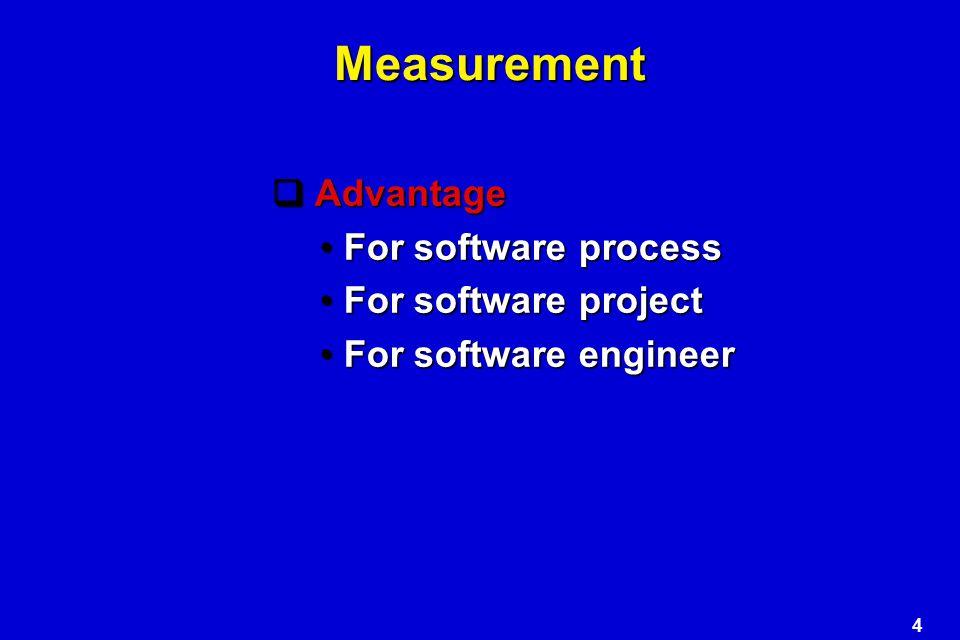 4 Measurement  Advantage For software processFor software process For software projectFor software project For software engineerFor software engineer