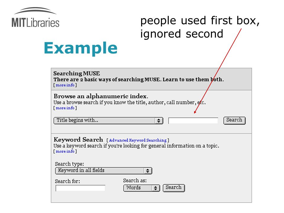 Example people used first box, ignored second