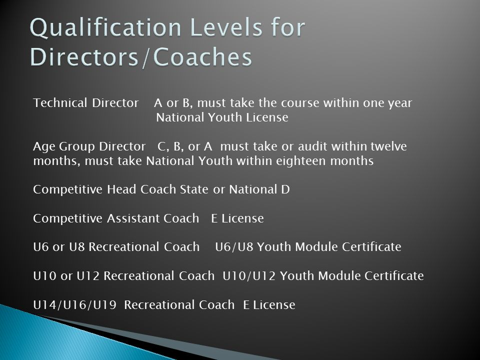 Technical Director A or B, must take the course within one year National Youth License Age Group Director C, B, or A must take or audit within twelve
