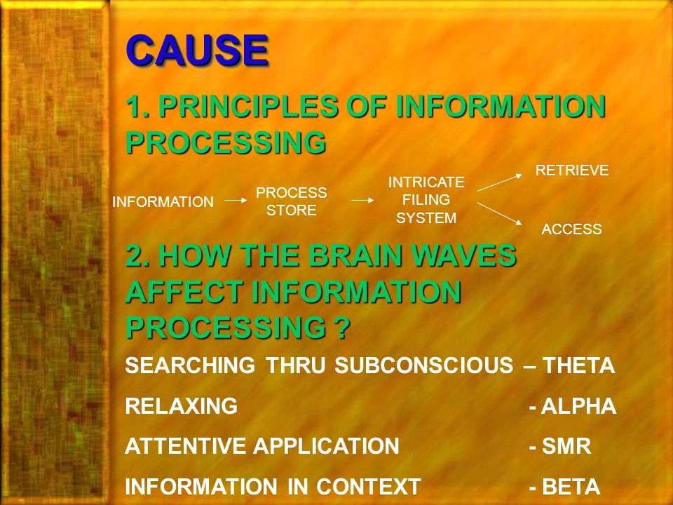 CAUSECAUSE 1. PRINCIPLES OF INFORMATION PROCESSING INFORMATION PROCESS STORE INTRICATE FILING SYSTEM RETRIEVE ACCESS 2. HOW THE BRAIN WAVES AFFECT INF
