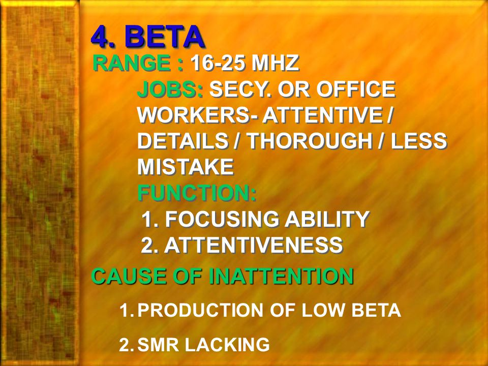 4.BETA RANGE : 16-25 MHZ JOBS: SECY.