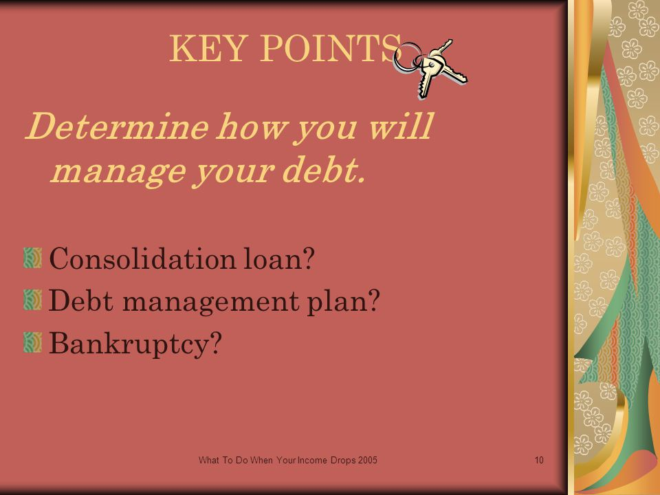 What To Do When Your Income Drops 200510 KEY POINTS Determine how you will manage your debt.