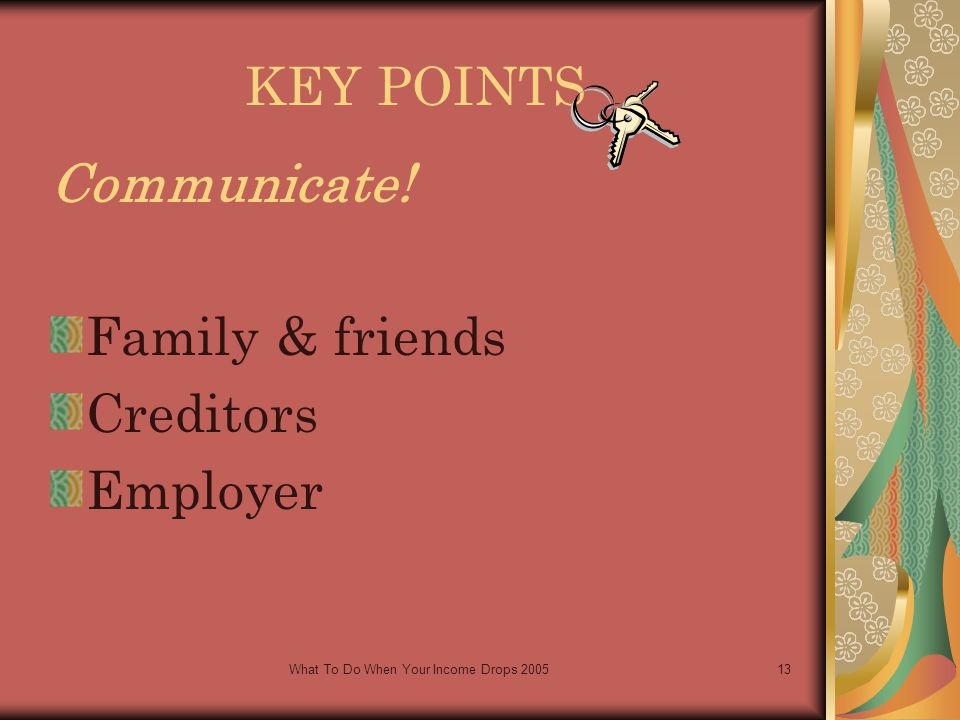 What To Do When Your Income Drops 200513 KEY POINTS Communicate.