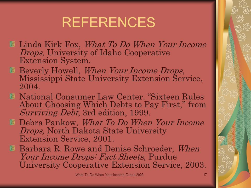 What To Do When Your Income Drops 200517 REFERENCES Linda Kirk Fox, What To Do When Your Income Drops, University of Idaho Cooperative Extension System.