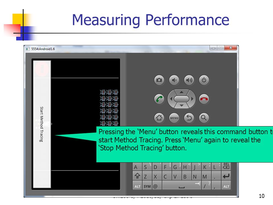 CW208-3/4-2010/11, Chp 2: Lec 310 Measuring Performance Pressing the 'Menu' button reveals this command button to start Method Tracing. Press 'Menu' a