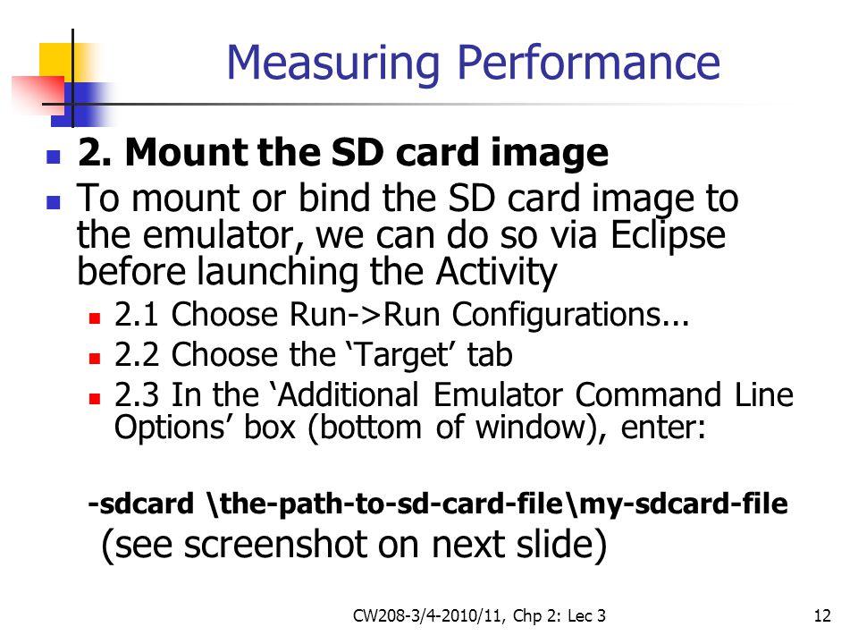 CW208-3/4-2010/11, Chp 2: Lec 312 Measuring Performance 2.