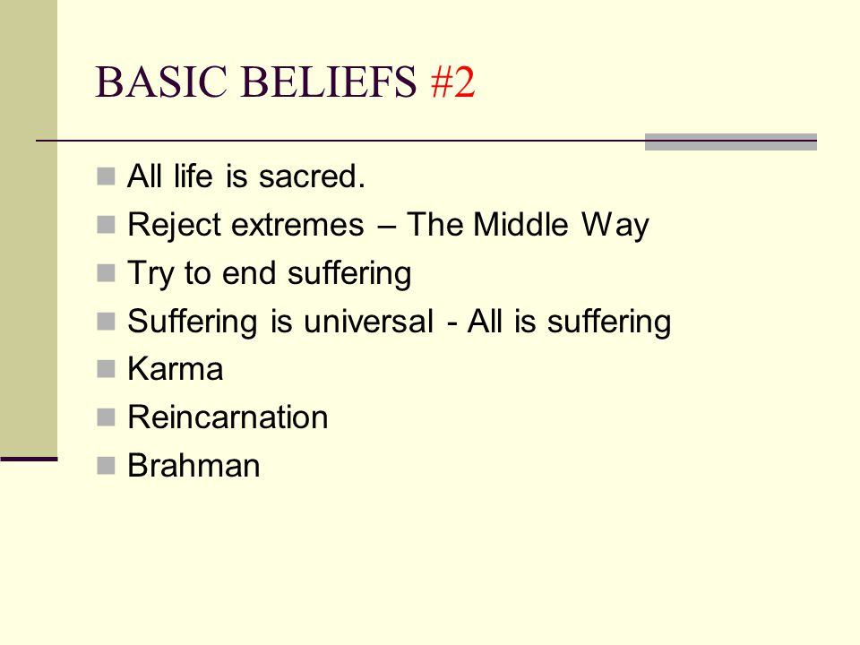 BASIC BELIEFS #2 All life is sacred. Reject extremes – The Middle Way Try to end suffering Suffering is universal - All is suffering Karma Reincarnati