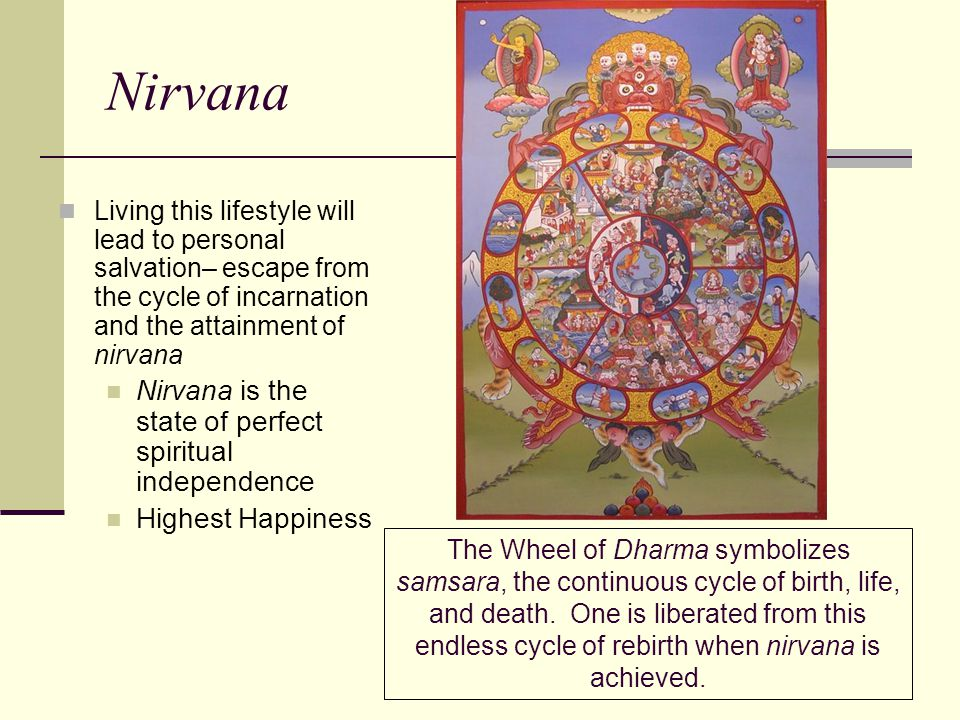 Nirvana Living this lifestyle will lead to personal salvation– escape from the cycle of incarnation and the attainment of nirvana Nirvana is the state
