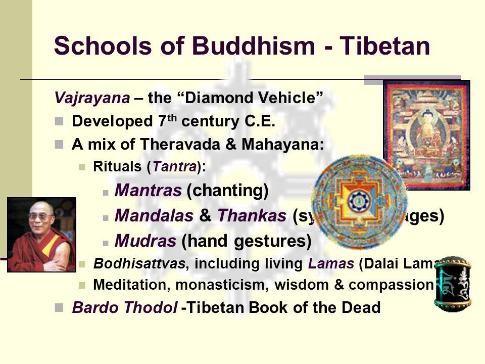 "Schools of Buddhism - Tibetan Vajrayana – the ""Diamond Vehicle"" Developed 7 th century C.E. A mix of Theravada & Mahayana: Rituals (Tantra): Mantras ("
