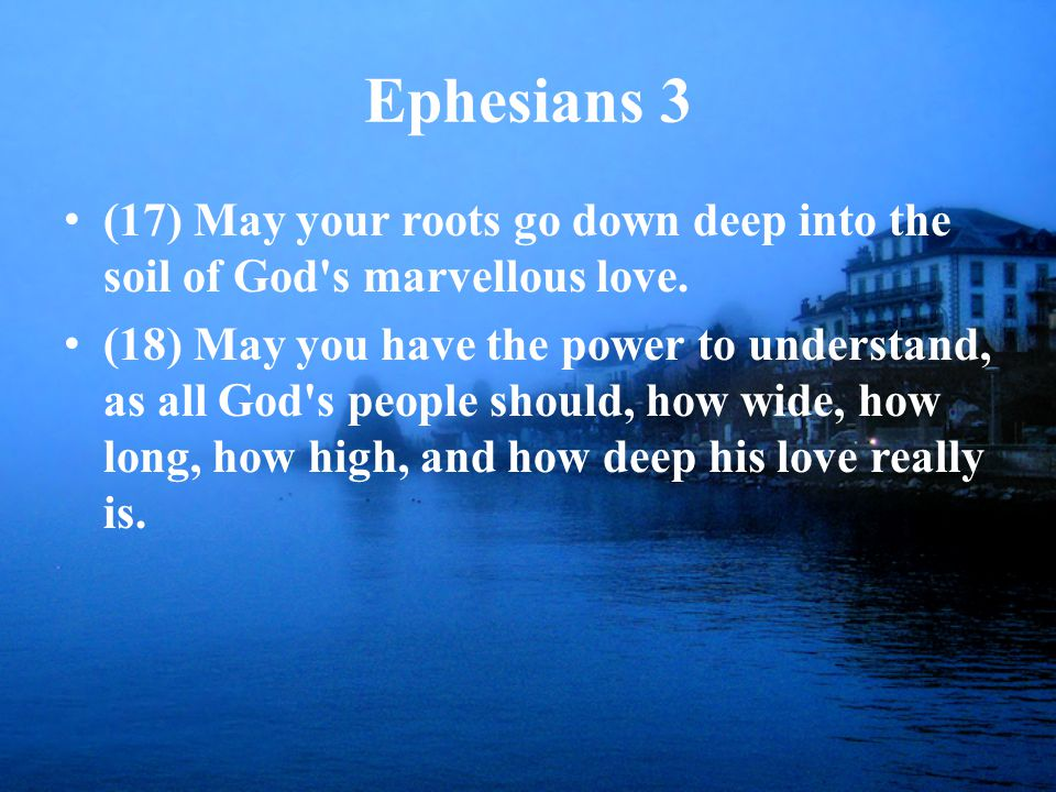 Ephesians 3 (17) May your roots go down deep into the soil of God s marvellous love.