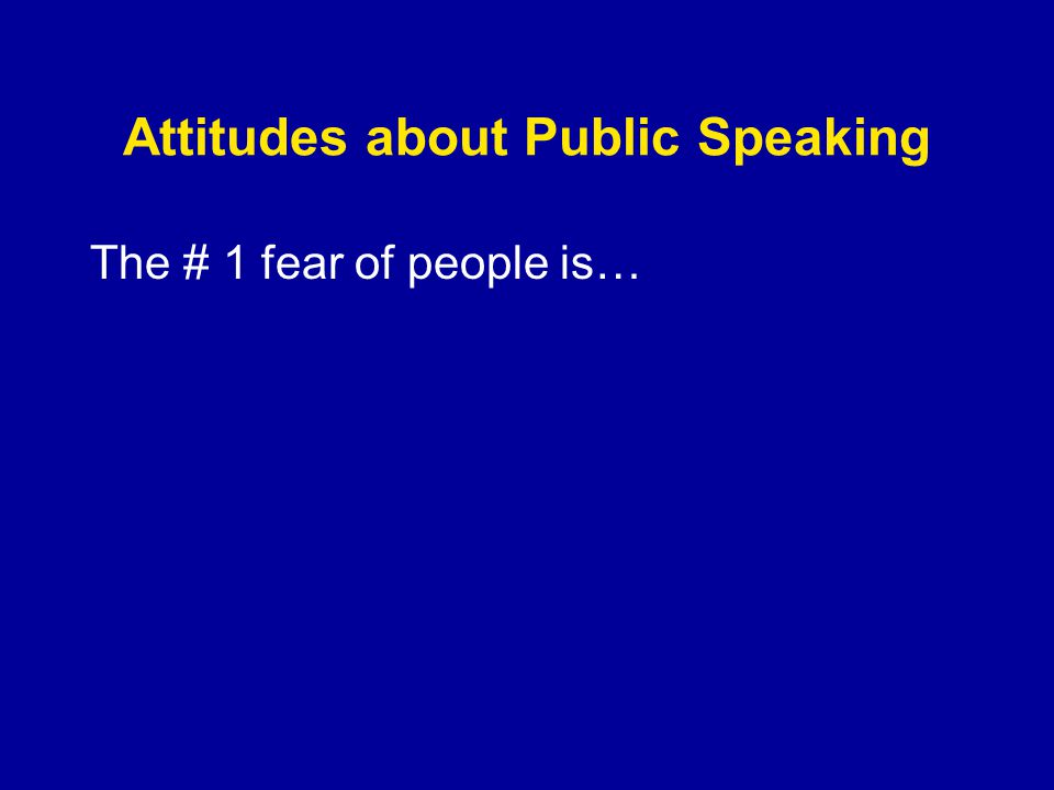 Attitudes about Public Speaking The # 1 fear of people is…