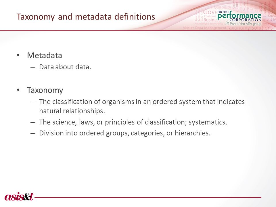 Taxonomy and metadata definitions Metadata – Data about data.