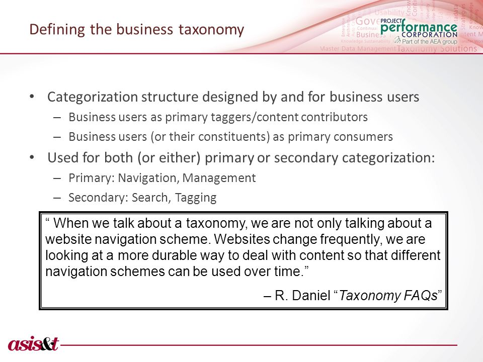 Defining the business taxonomy Categorization structure designed by and for business users – Business users as primary taggers/content contributors – Business users (or their constituents) as primary consumers Used for both (or either) primary or secondary categorization: – Primary: Navigation, Management – Secondary: Search, Tagging When we talk about a taxonomy, we are not only talking about a website navigation scheme.