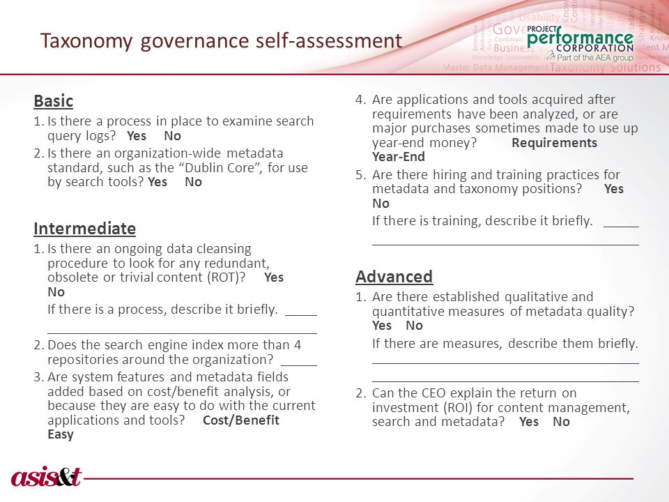 Taxonomy governance self-assessment Basic 1.Is there a process in place to examine search query logs.