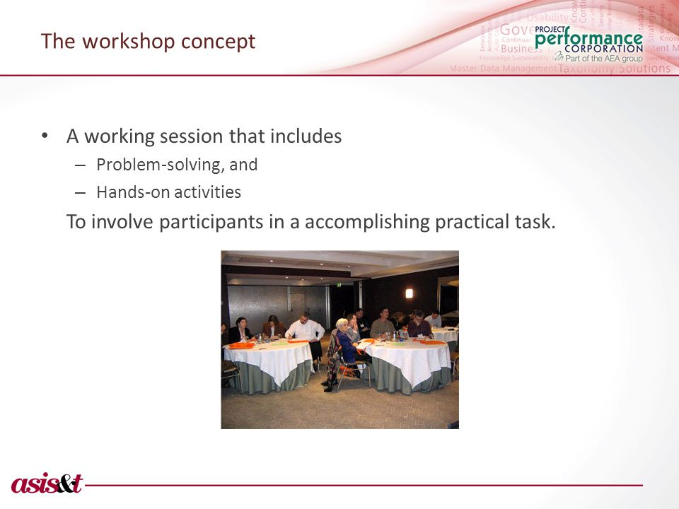 The workshop concept A working session that includes – Problem-solving, and – Hands-on activities To involve participants in a accomplishing practical task.