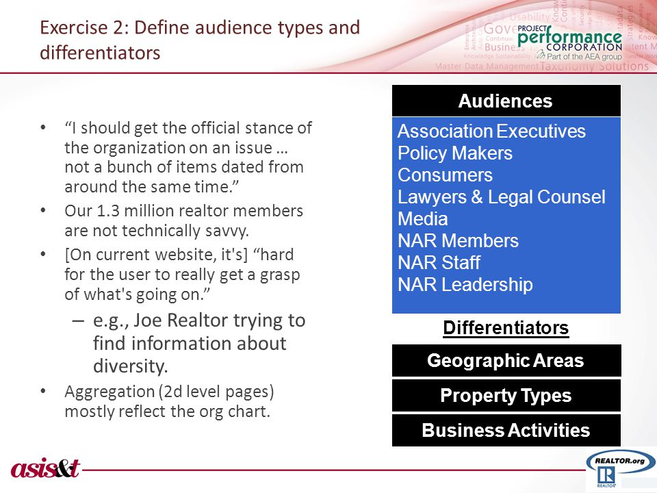 Exercise 2: Define audience types and differentiators I should get the official stance of the organization on an issue … not a bunch of items dated from around the same time. Our 1.3 million realtor members are not technically savvy.