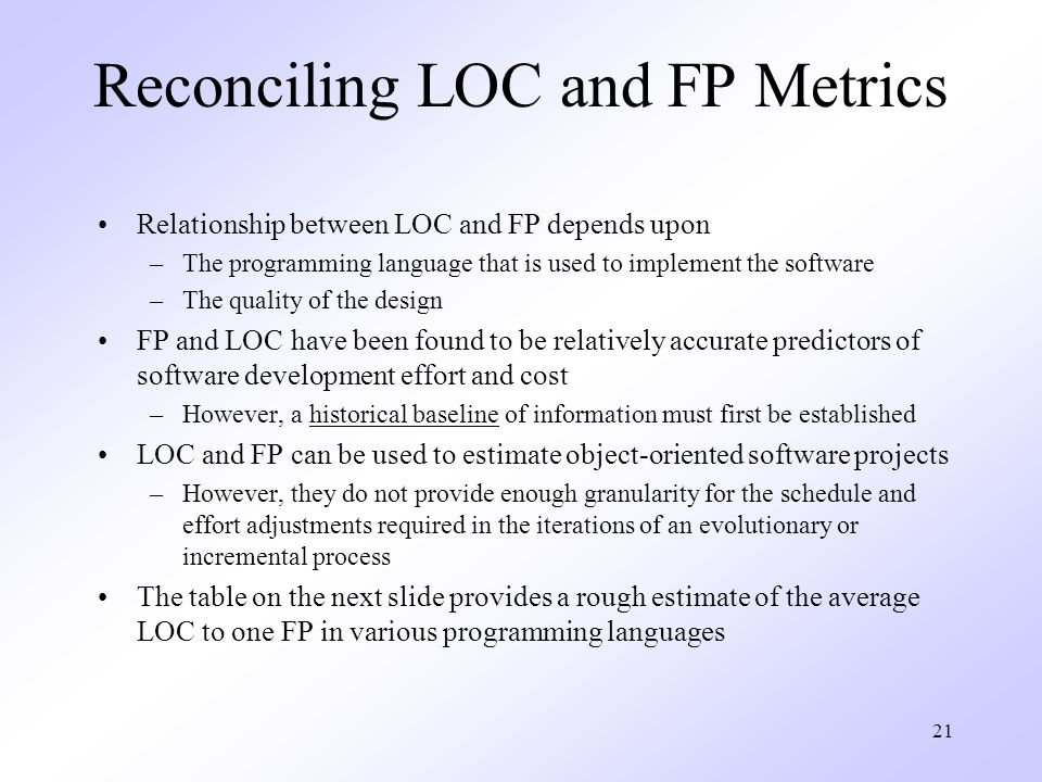 21 Reconciling LOC and FP Metrics Relationship between LOC and FP depends upon –The programming language that is used to implement the software –The quality of the design FP and LOC have been found to be relatively accurate predictors of software development effort and cost –However, a historical baseline of information must first be established LOC and FP can be used to estimate object-oriented software projects –However, they do not provide enough granularity for the schedule and effort adjustments required in the iterations of an evolutionary or incremental process The table on the next slide provides a rough estimate of the average LOC to one FP in various programming languages