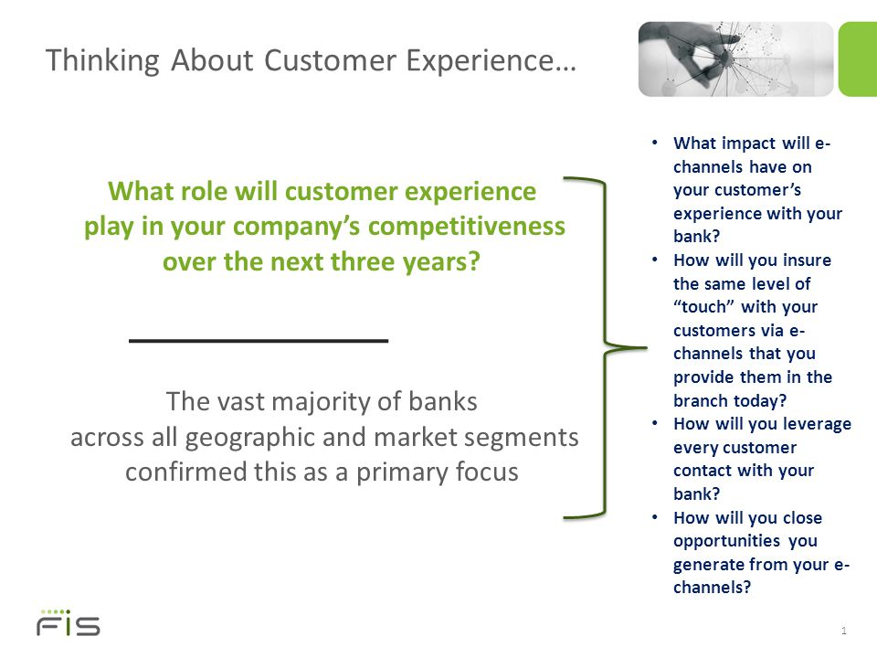 Thinking About Customer Experience… 1 What role will customer experience play in your company's competitiveness over the next three years.
