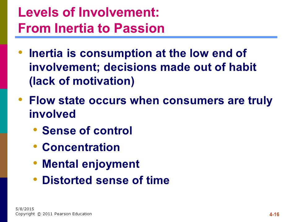 4-16 5/8/2015 Copyright © 2011 Pearson Education Levels of Involvement: From Inertia to Passion Inertia is consumption at the low end of involvement;