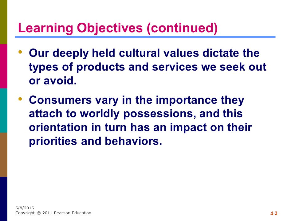 4-3 5/8/2015 Copyright © 2011 Pearson Education Learning Objectives (continued) Our deeply held cultural values dictate the types of products and serv