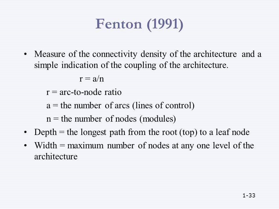 1-33 Fenton (1991) Measure of the connectivity density of the architecture and a simple indication of the coupling of the architecture.