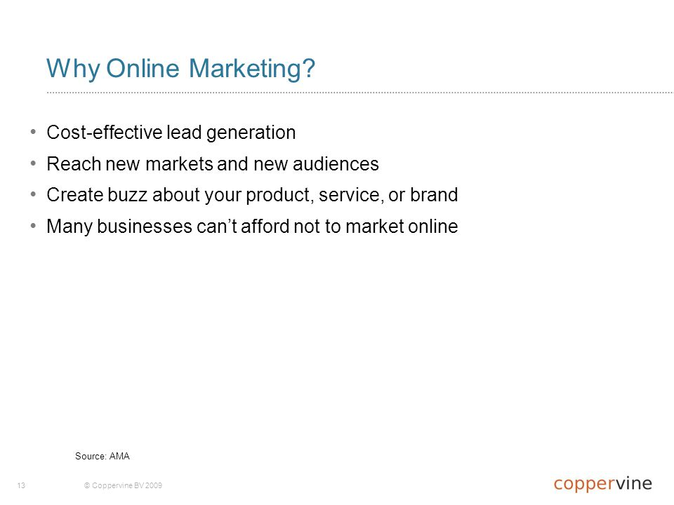 13© Coppervine BV 2009 Why Online Marketing.