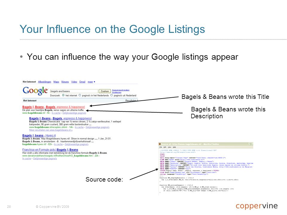28© Coppervine BV 2009 Your Influence on the Google Listings You can influence the way your Google listings appear Bagels & Beans wrote this Title Bagels & Beans wrote this Description Source code: