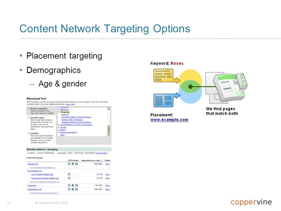 41© Coppervine BV 2009 Content Network Targeting Options Placement targeting Demographics – Age & gender