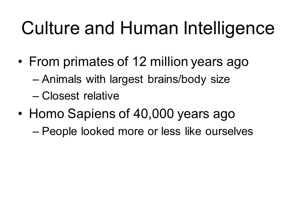 Culture and Human Intelligence From primates of 12 million years ago –Animals with largest brains/body size –Closest relative Homo Sapiens of 40,000 y