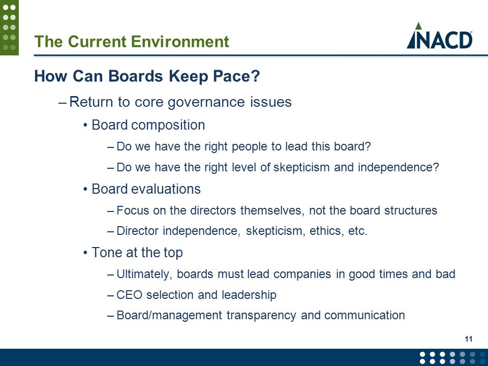 11 The Current Environment How Can Boards Keep Pace.