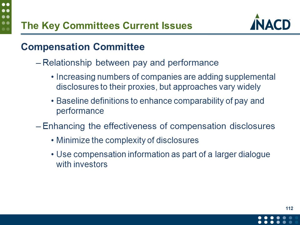 112 The Key Committees Current Issues Compensation Committee –Relationship between pay and performance Increasing numbers of companies are adding supplemental disclosures to their proxies, but approaches vary widely Baseline definitions to enhance comparability of pay and performance –Enhancing the effectiveness of compensation disclosures Minimize the complexity of disclosures Use compensation information as part of a larger dialogue with investors