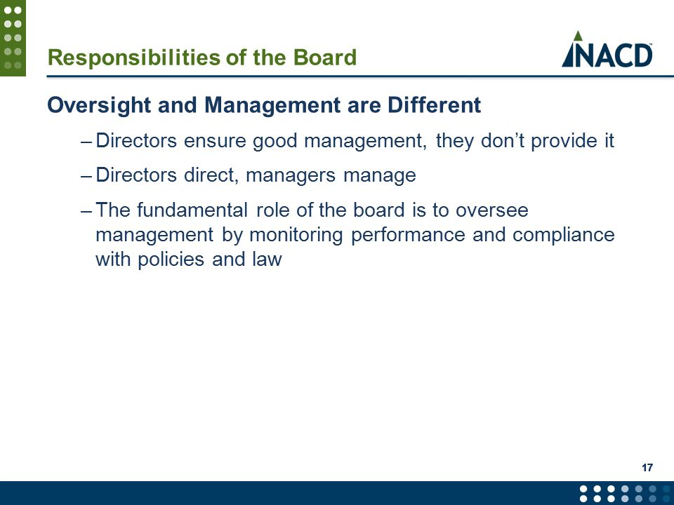 Responsibilities of the Board Oversight and Management are Different –Directors ensure good management, they don't provide it –Directors direct, managers manage –The fundamental role of the board is to oversee management by monitoring performance and compliance with policies and law 17