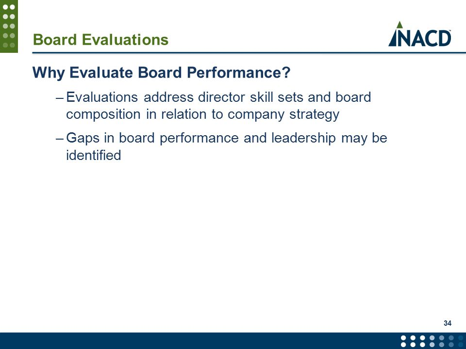 34 Board Evaluations Why Evaluate Board Performance.
