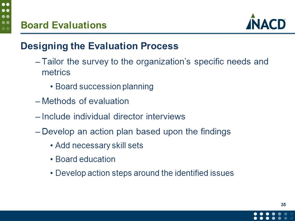 35 Board Evaluations Designing the Evaluation Process –Tailor the survey to the organization's specific needs and metrics Board succession planning –Methods of evaluation –Include individual director interviews –Develop an action plan based upon the findings Add necessary skill sets Board education Develop action steps around the identified issues